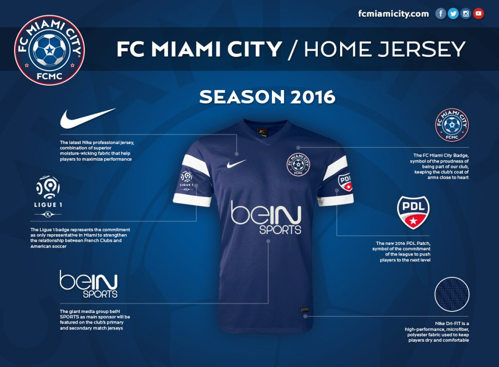 FC Miami City 2016 Home jersey